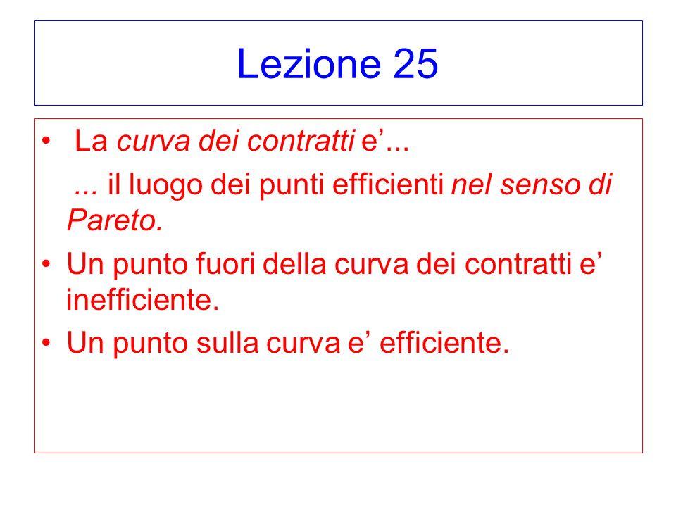 Lezione 25 La curva dei contratti e...... il luogo dei punti efficienti nel senso di Pareto.