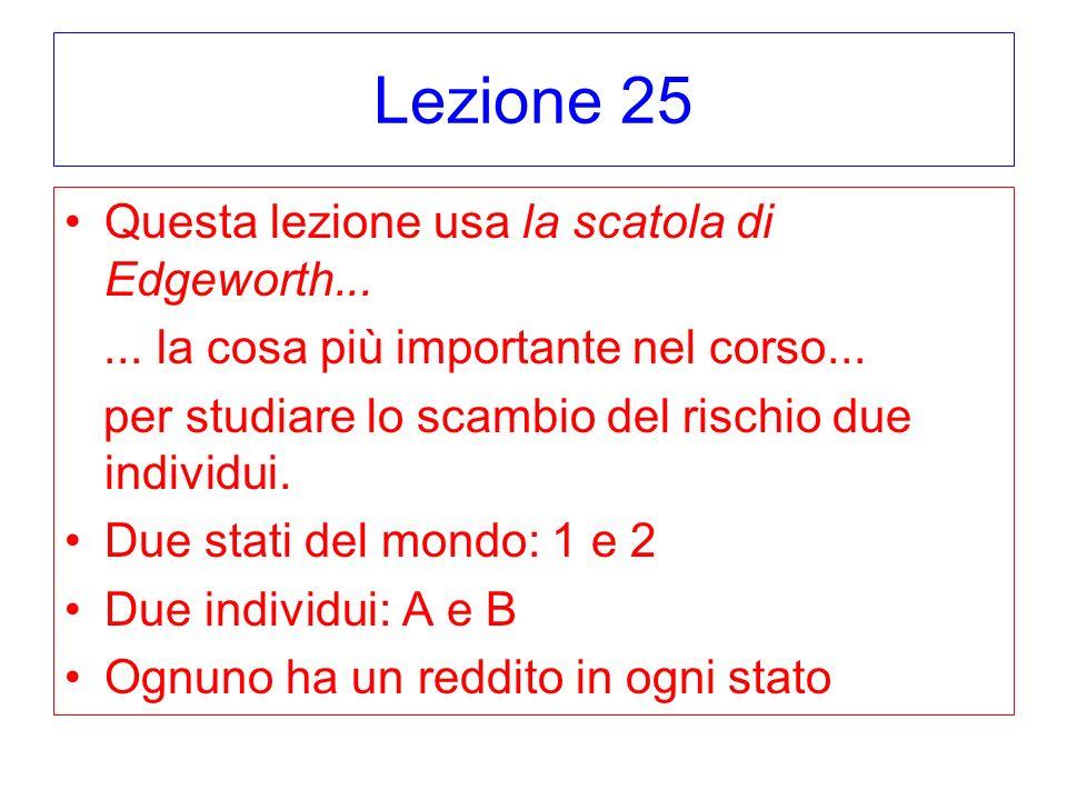 Lezione 25 Cominciamo con due individui con preferenze del Modello di Utilità Attesa A con u(c) = – exp(-.01x) B con u(c) = – exp(-.03x) B più avverso al rischio.