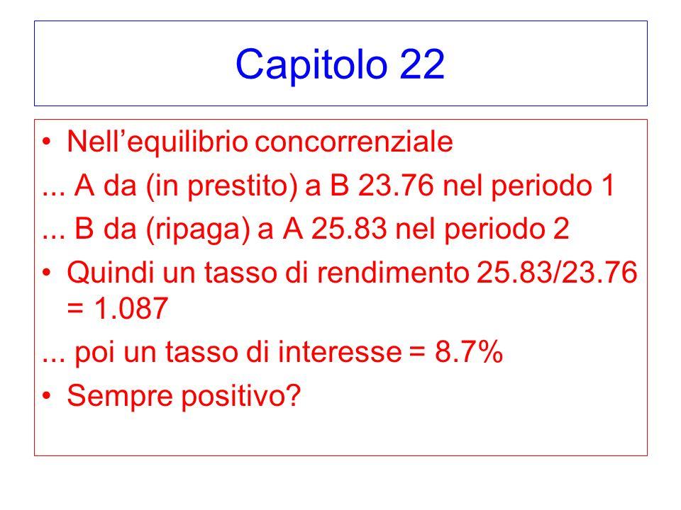 Capitolo 22 Nellequilibrio concorrenziale... A da (in prestito) a B 23.76 nel periodo 1...