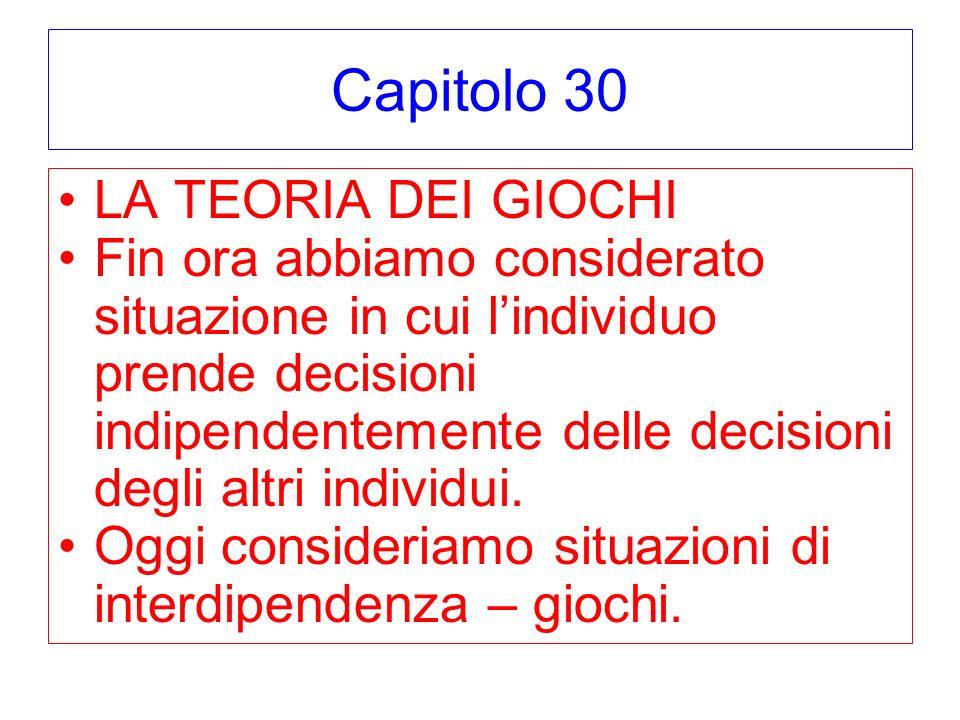 Capitolo 30 LA TEORIA DEI GIOCHI Fin ora abbiamo considerato situazione in cui lindividuo prende decisioni indipendentemente delle decisioni degli altri individui.