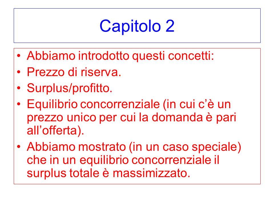 Capitolo 2 Abbiamo introdotto questi concetti: Prezzo di riserva. Surplus/profitto. Equilibrio concorrenziale (in cui cè un prezzo unico per cui la do