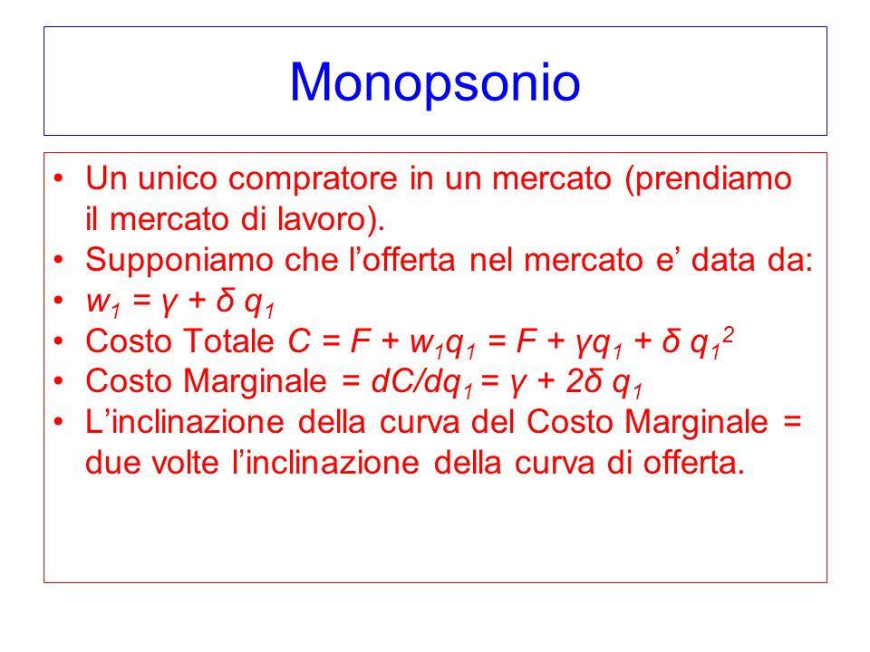 Monopsonio Un unico compratore in un mercato (prendiamo il mercato di lavoro).