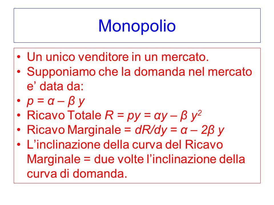 Monopolio Un unico venditore in un mercato.