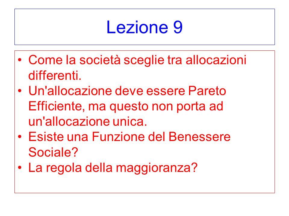 Lezione 9 Come la società sceglie tra allocazioni differenti.