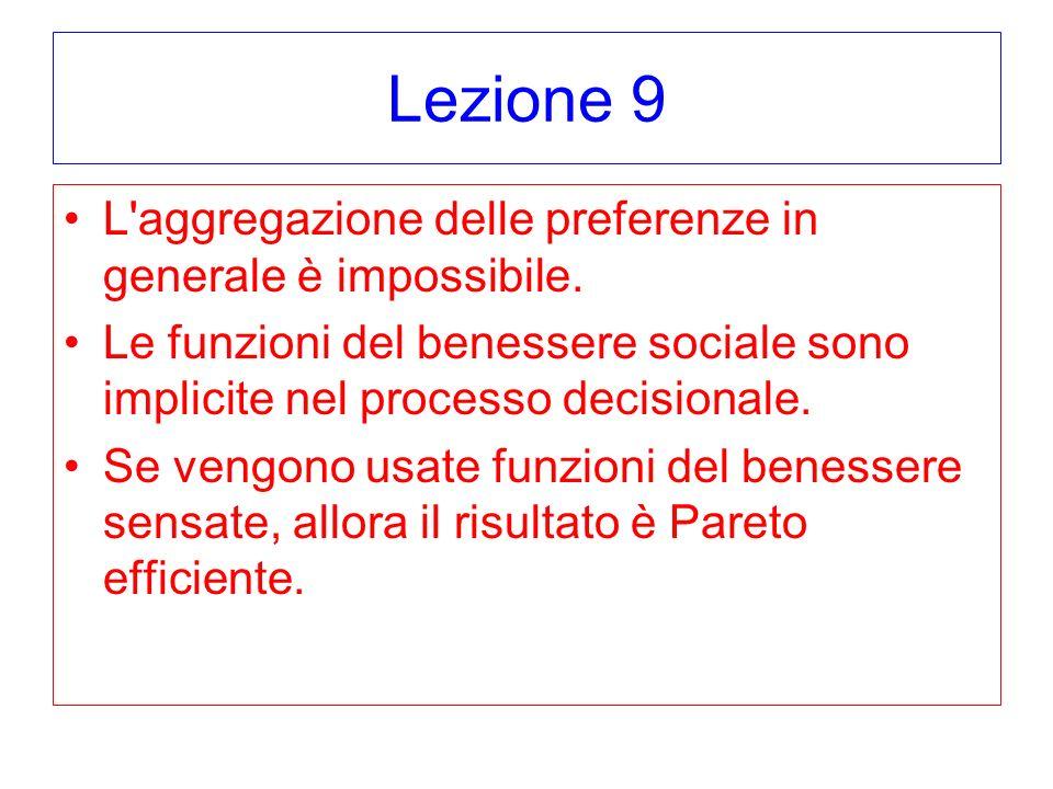 Lezione 9 L aggregazione delle preferenze in generale è impossibile.