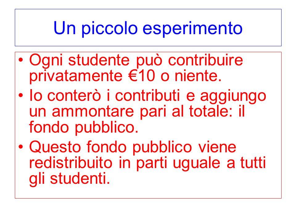 Un piccolo esperimento Ogni studente può contribuire privatamente 10 o niente. Io conterò i contributi e aggiungo un ammontare pari al totale: il fond