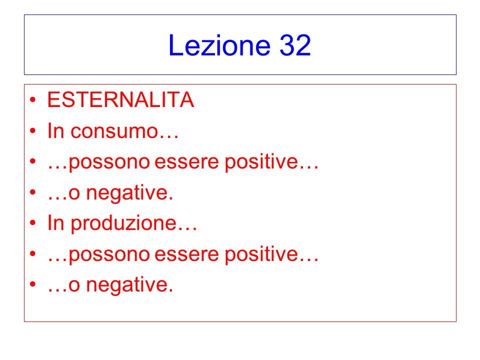 Lezione 32 ESTERNALITA In consumo… …possono essere positive… …o negative. In produzione… …possono essere positive… …o negative.