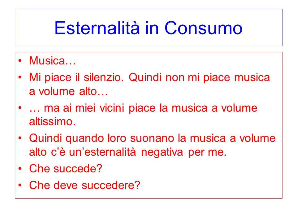 Esternalità in Consumo Musica… Mi piace il silenzio. Quindi non mi piace musica a volume alto… … ma ai miei vicini piace la musica a volume altissimo.