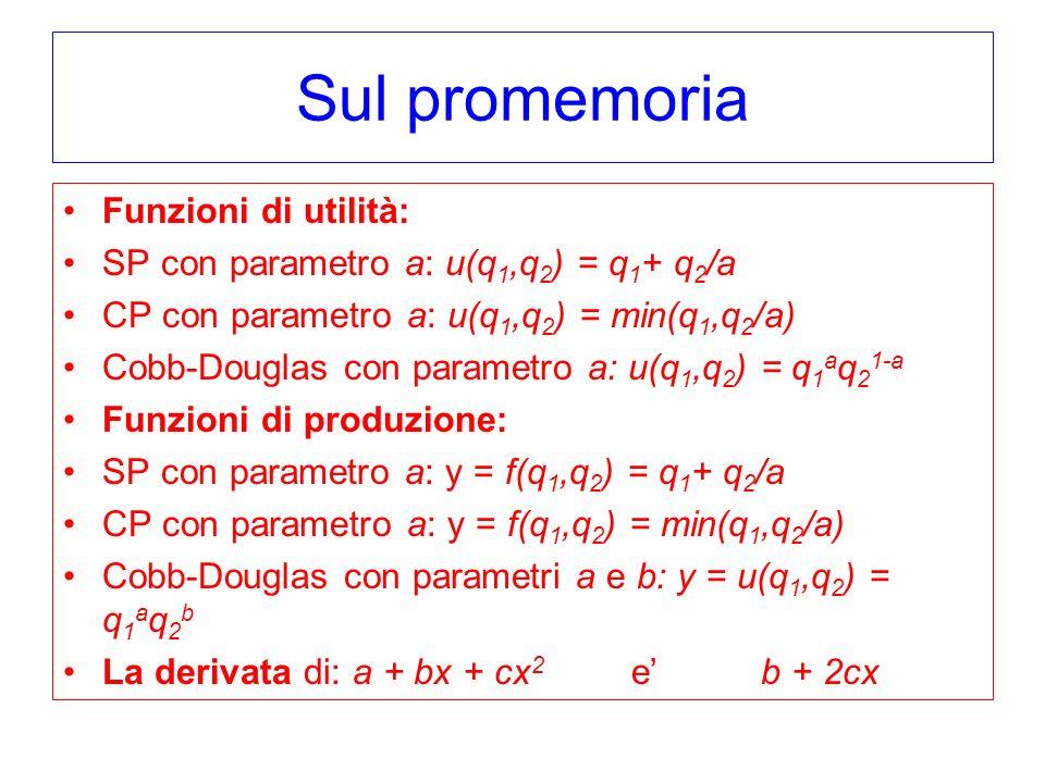 Sul promemoria Funzioni di utilità: SP con parametro a: u(q 1,q 2 ) = q 1 + q 2 /a CP con parametro a: u(q 1,q 2 ) = min(q 1,q 2 /a) Cobb-Douglas con