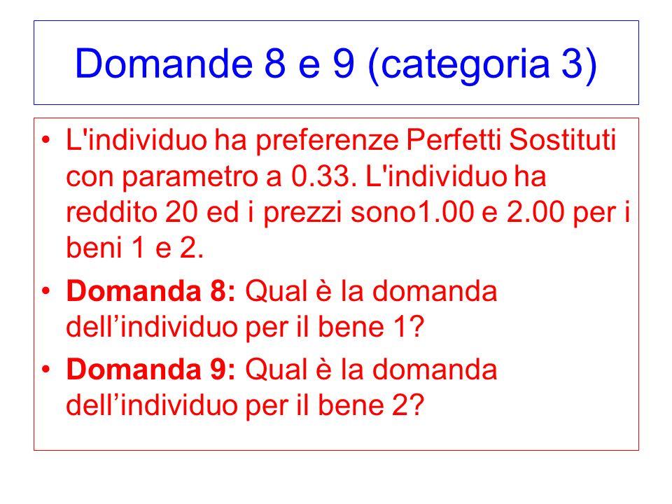 Domande 8 e 9 (categoria 3) L'individuo ha preferenze Perfetti Sostituti con parametro a 0.33. L'individuo ha reddito 20 ed i prezzi sono1.00 e 2.00 p