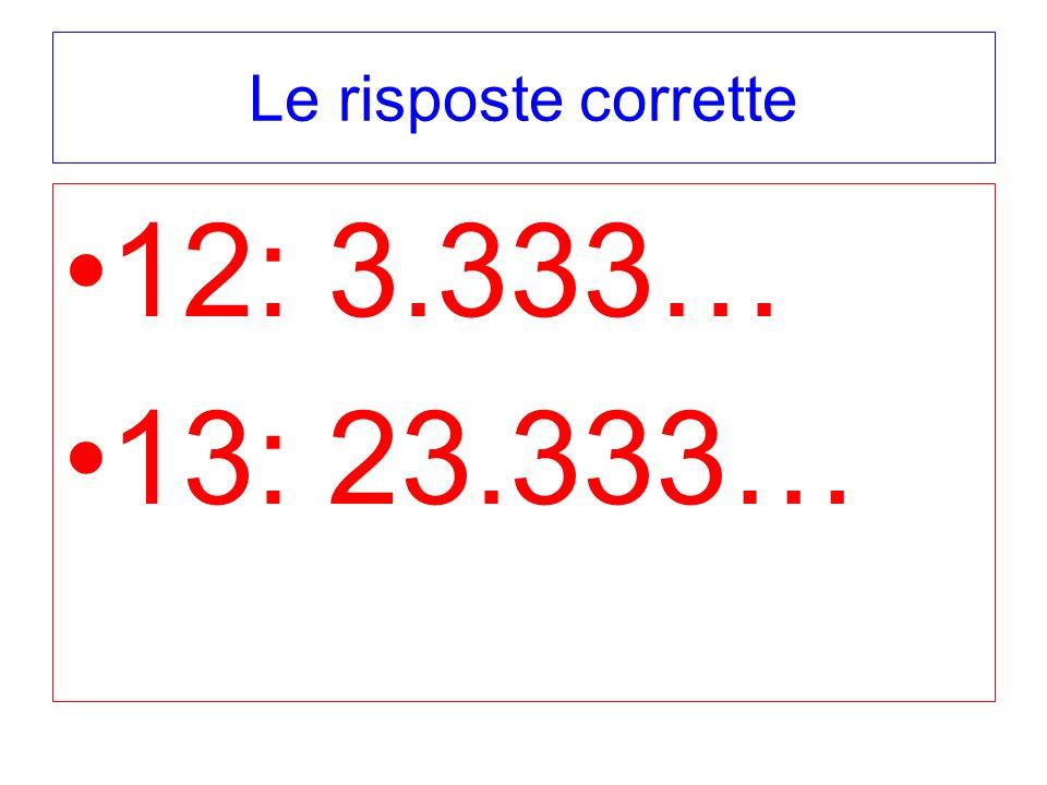 Le risposte corrette 12: 3.333… 13: 23.333…