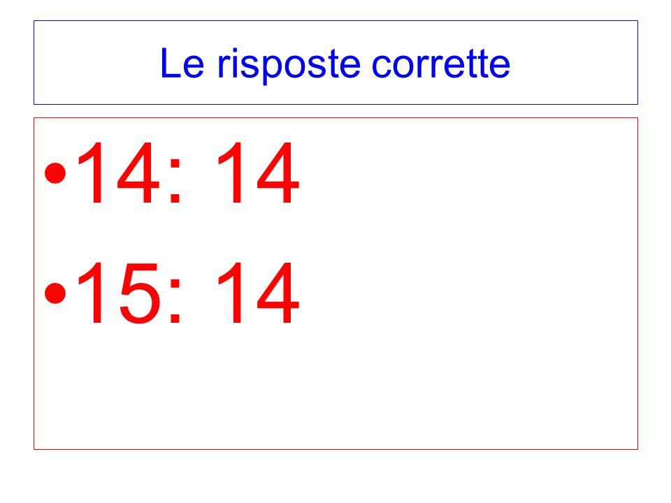 Le risposte corrette 14: 14 15: 14