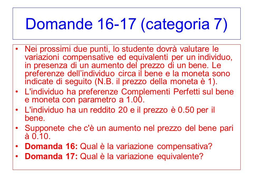 Domande 16-17 (categoria 7) Nei prossimi due punti, lo studente dovrà valutare le variazioni compensative ed equivalenti per un individuo, in presenza di un aumento del prezzo di un bene.