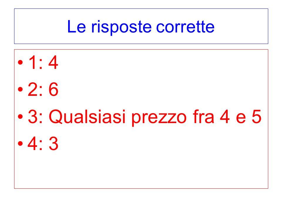 Le risposte corrette 1: 4 2: 6 3: Qualsiasi prezzo fra 4 e 5 4: 3