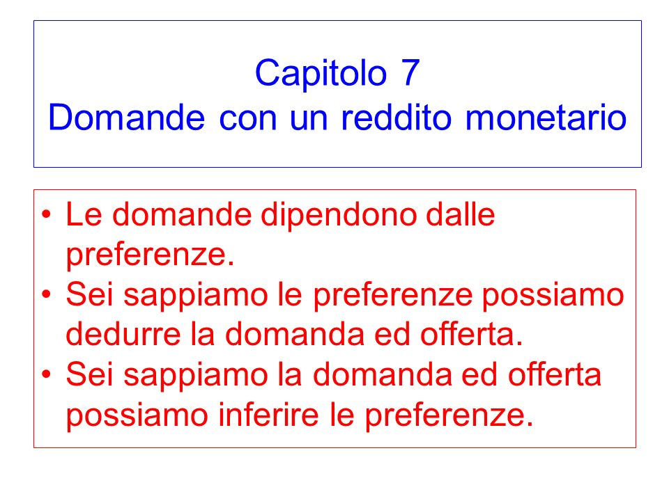 Capitolo 7 Domande con un reddito monetario Le domande dipendono dalle preferenze.