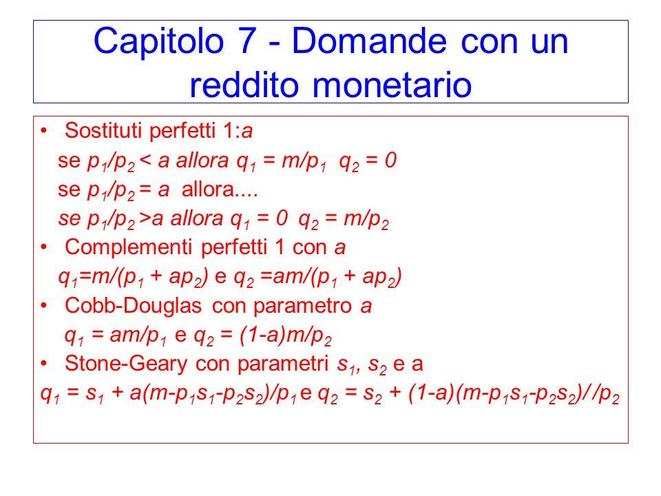 Capitolo 7 - Domande con un reddito monetario Sostituti perfetti 1:a se p 1 /p 2 < a allora q 1 = m/p 1 q 2 = 0 se p 1 /p 2 = a allora....