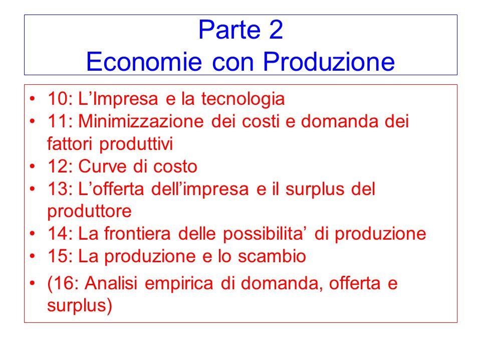 Parte 2 Economie con Produzione 10: LImpresa e la tecnologia 11: Minimizzazione dei costi e domanda dei fattori produttivi 12: Curve di costo 13: Lofferta dellimpresa e il surplus del produttore 14: La frontiera delle possibilita di produzione 15: La produzione e lo scambio (16: Analisi empirica di domanda, offerta e surplus)