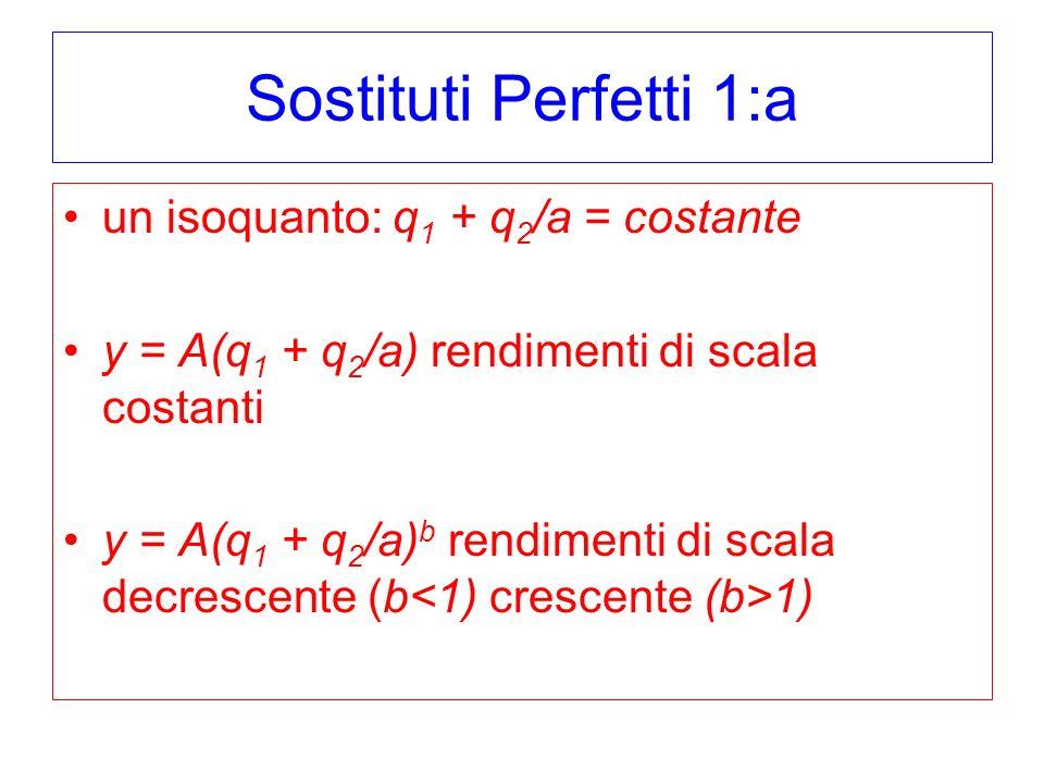 Sostituti Perfetti 1:a un isoquanto: q 1 + q 2 /a = costante y = A(q 1 + q 2 /a) rendimenti di scala costanti y = A(q 1 + q 2 /a) b rendimenti di scala decrescente (b 1)