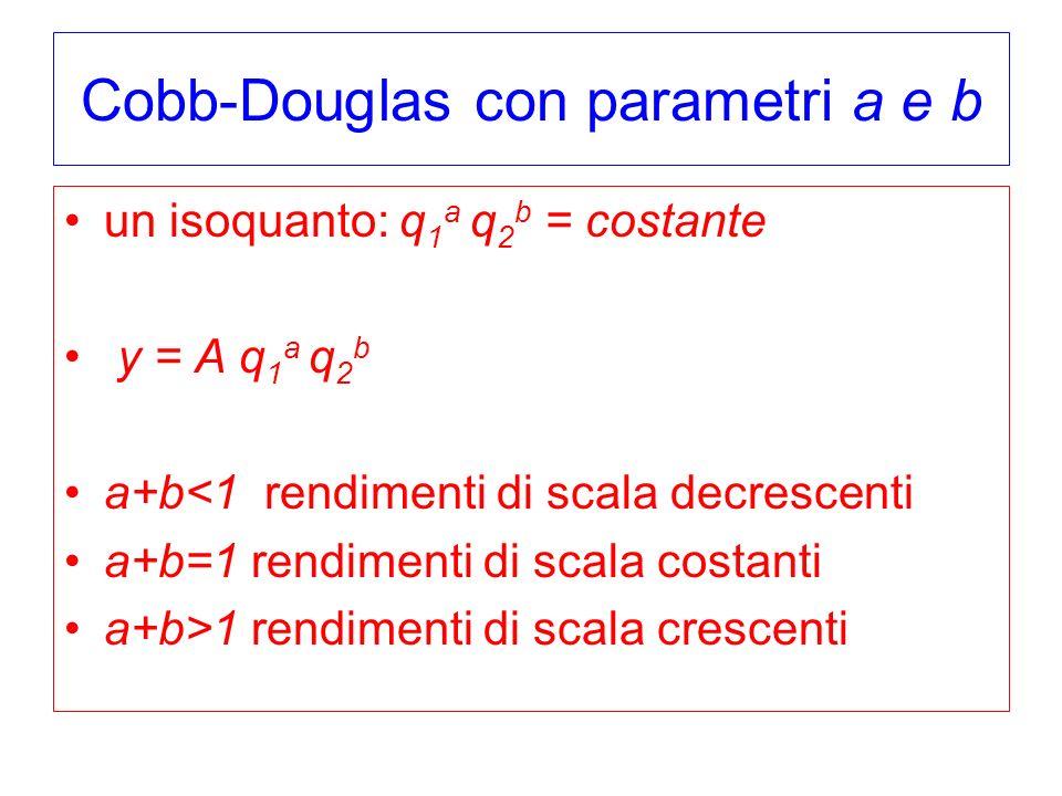 Cobb-Douglas con parametri a e b un isoquanto: q 1 a q 2 b = costante y = A q 1 a q 2 b a+b<1 rendimenti di scala decrescenti a+b=1 rendimenti di scala costanti a+b>1 rendimenti di scala crescenti