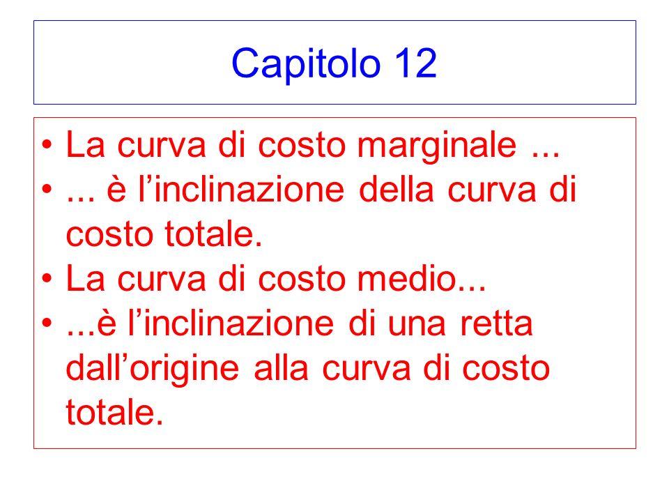 Capitolo 12 La curva di costo marginale......è linclinazione della curva di costo totale.