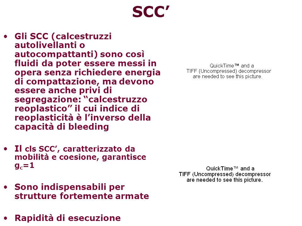Per ridurre le discrepanze tra le proprietà dei provini di laboratorio e quelle della struttura: a)non bisogna dipendere dalla modalità di compattazione (superfluidificanti e viscosizzanti) Self-Compacting Concrete (SCC) b)non bisogna dipendere dalle modalità di stagionatura (bisogna porre attenzione alla stagionatura umida del calcestruzzo appena scasserato, soprattutto se ciò avviene in climi asciutti, ventilati e caldi) Self-Curing Concrete (SCC) c)non bisogna dipendere dalle sfavorevoli condizioni igro-termiche (additivi capaci di ridurre il ritiro) Self-Compressing Concrete (SCC)