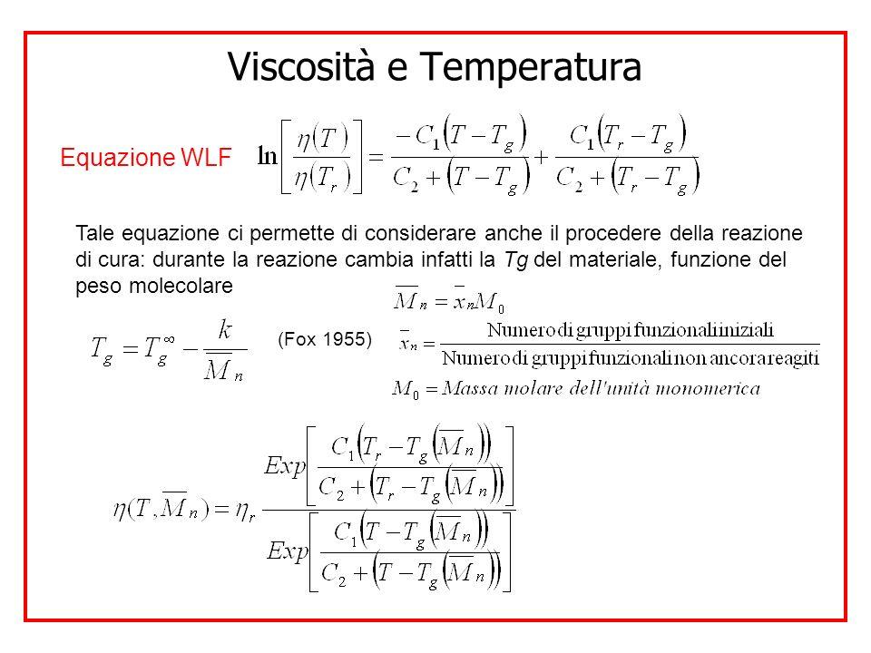 Viscosità e Temperatura Equazione WLF Tale equazione ci permette di considerare anche il procedere della reazione di cura: durante la reazione cambia