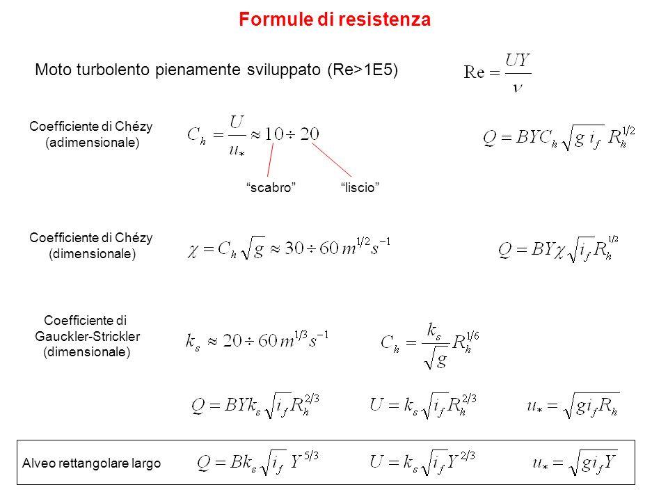 Coefficiente di Chézy (adimensionale) Formule di resistenza scabroliscio Coefficiente di Chézy (dimensionale) Coefficiente di Gauckler-Strickler (dime