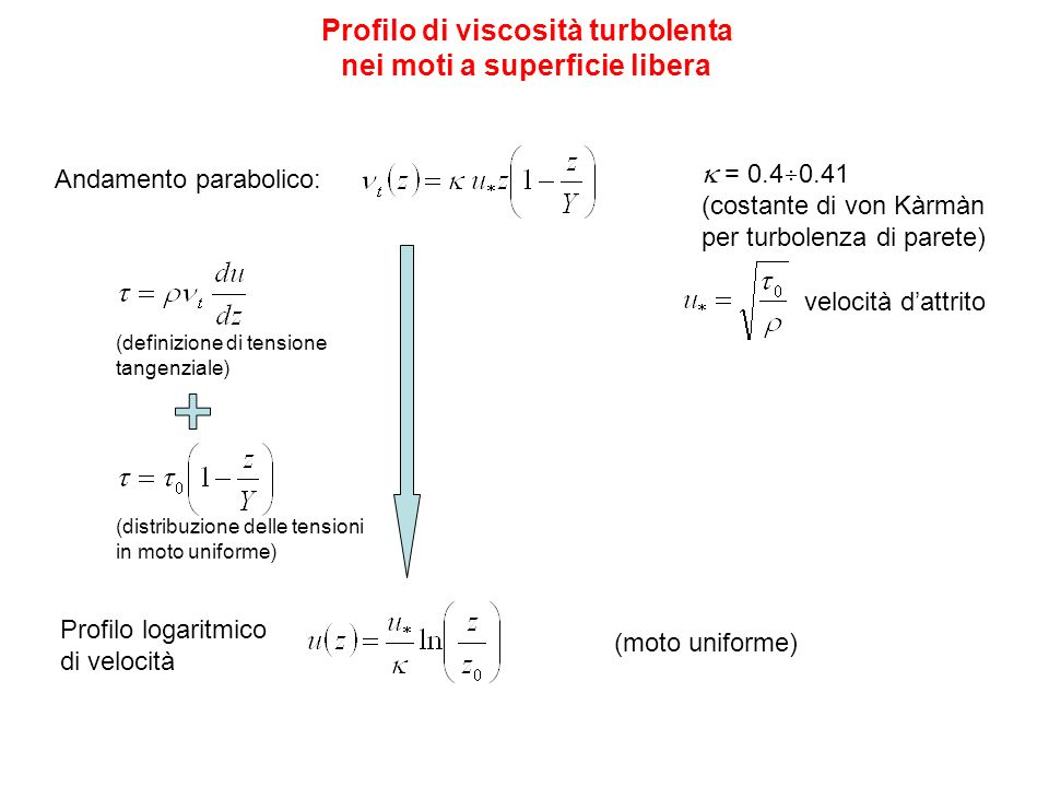 Profilo di viscosità turbolenta nei moti a superficie libera Andamento parabolico: = 0.4 0.41 (costante di von Kàrmàn per turbolenza di parete) veloci
