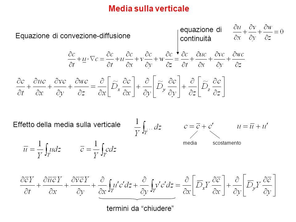 Media sulla verticale Effetto della media sulla verticale equazione di continuità Equazione di convezione-diffusione mediascostamento termini da chiud