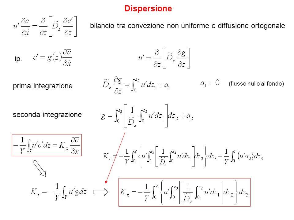 Dispersione bilancio tra convezione non uniforme e diffusione ortogonale ip. prima integrazione (flusso nullo al fondo) seconda integrazione