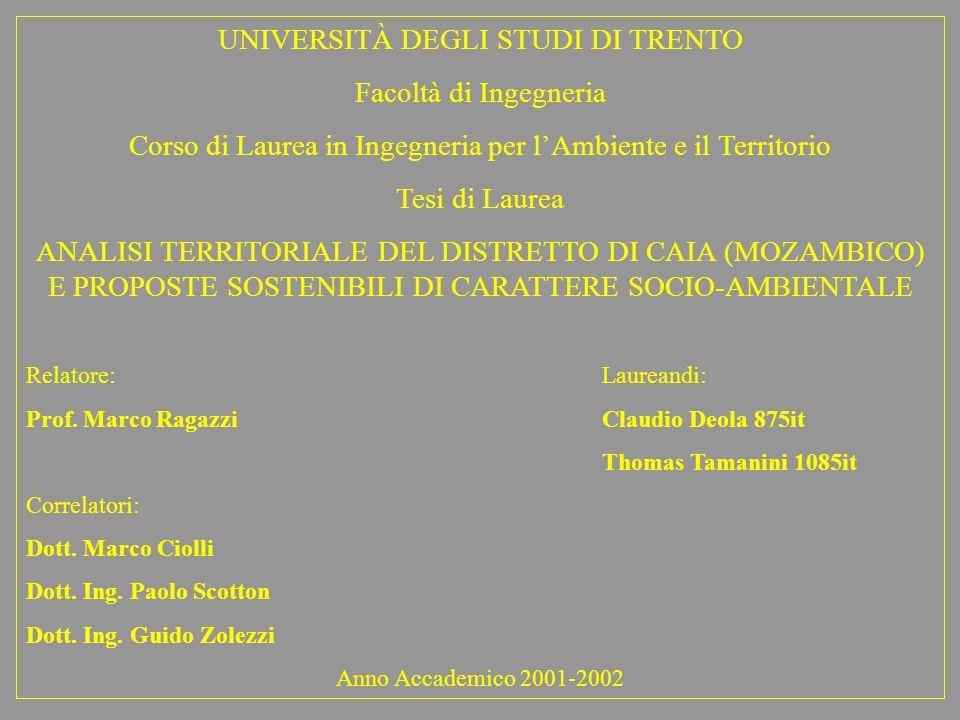UNIVERSITÀ DEGLI STUDI DI TRENTO Facoltà di Ingegneria Corso di Laurea in Ingegneria per lAmbiente e il Territorio Tesi di Laurea ANALISI TERRITORIALE