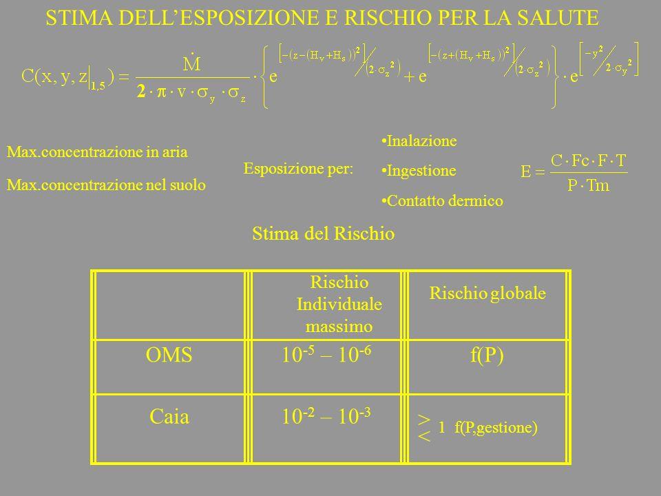STIMA DELLESPOSIZIONE E RISCHIO PER LA SALUTE Max.concentrazione in aria Max.concentrazione nel suolo Esposizione per: Stima del Rischio Inalazione In
