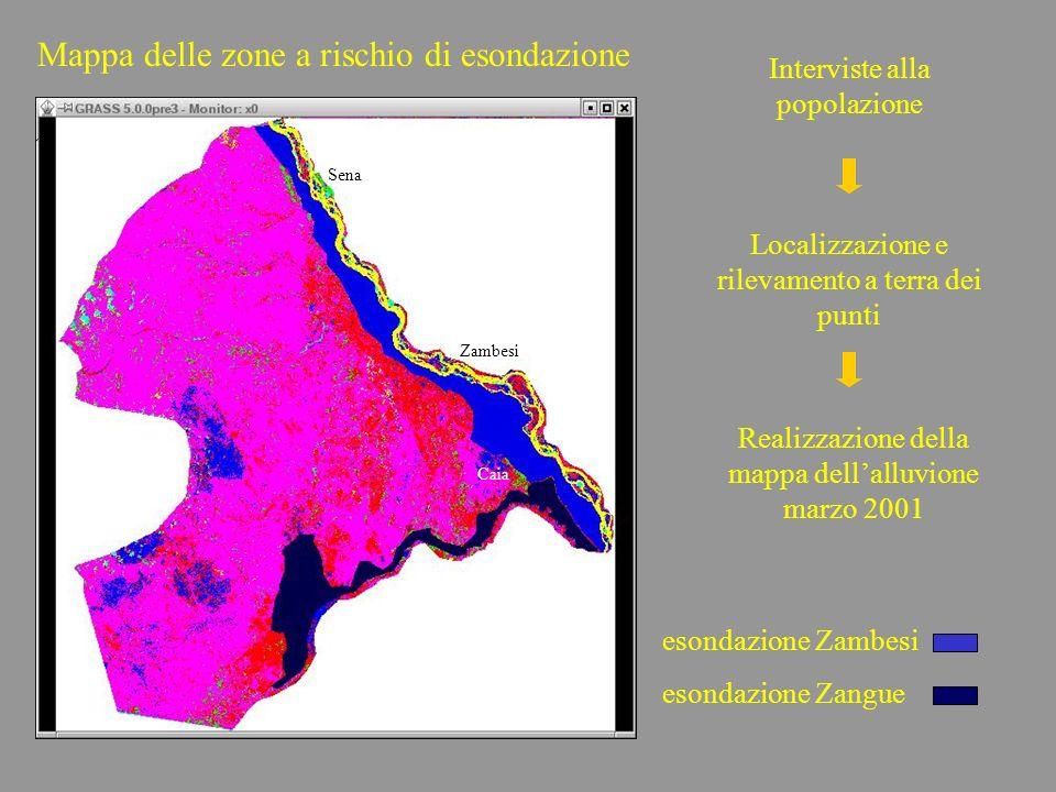 Mappa delle zone a rischio di esondazione Interviste alla popolazione Localizzazione e rilevamento a terra dei punti Realizzazione della mappa dellall