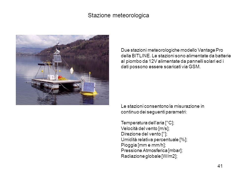 41 Stazione meteorologica Le stazioni consentono la misurazione in continuo dei seguenti parametri: Temperatura dell'aria [°C]; Velocità del vento [m/