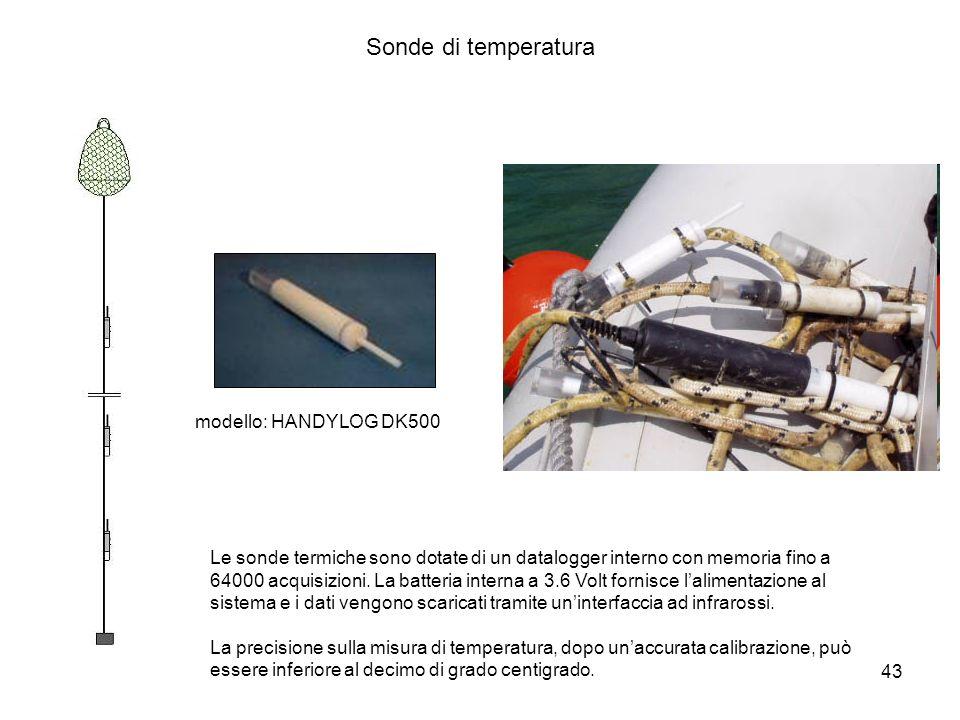 43 Sonde di temperatura Le sonde termiche sono dotate di un datalogger interno con memoria fino a 64000 acquisizioni. La batteria interna a 3.6 Volt f