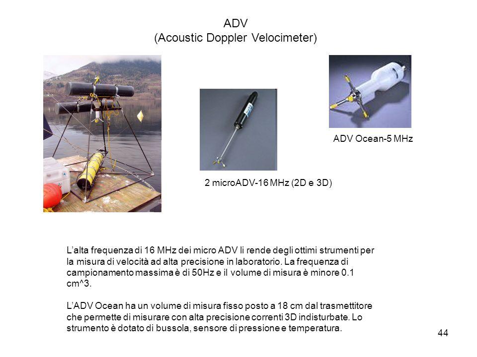 44 Lalta frequenza di 16 MHz dei micro ADV li rende degli ottimi strumenti per la misura di velocità ad alta precisione in laboratorio. La frequenza d