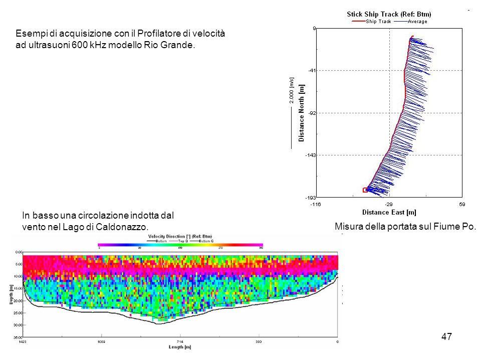 47 In basso una circolazione indotta dal vento nel Lago di Caldonazzo. Esempi di acquisizione con il Profilatore di velocità ad ultrasuoni 600 kHz mod
