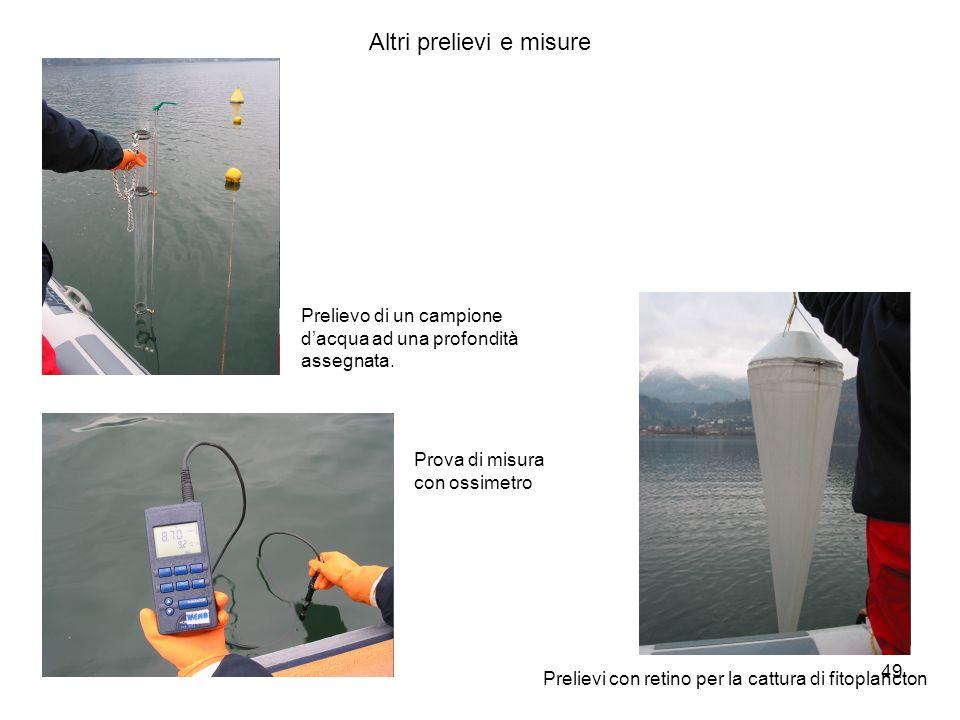 49 Prova di misura con ossimetro Prelievi con retino per la cattura di fitoplancton Altri prelievi e misure Prelievo di un campione dacqua ad una prof