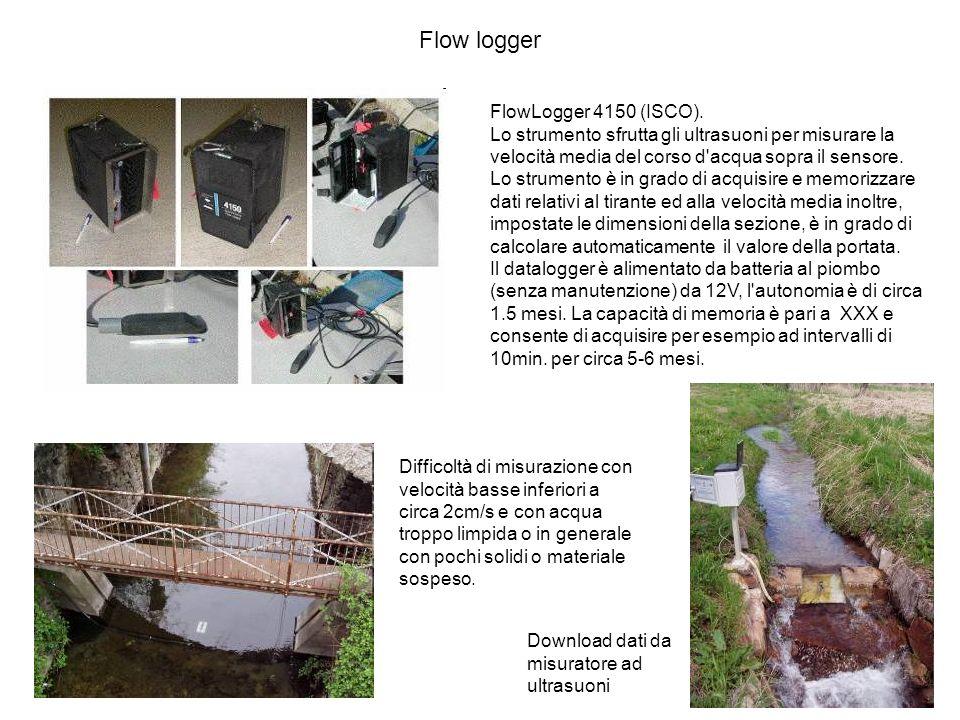 52 FlowLogger 4150 (ISCO). Lo strumento sfrutta gli ultrasuoni per misurare la velocità media del corso d'acqua sopra il sensore. Lo strumento è in gr
