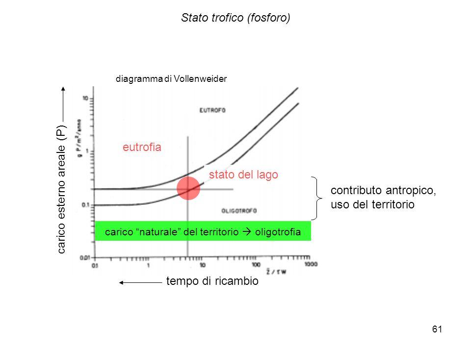 61 Stato trofico (fosforo) carico naturale del territorio oligotrofia carico esterno areale (P) tempo di ricambio contributo antropico, uso del territ
