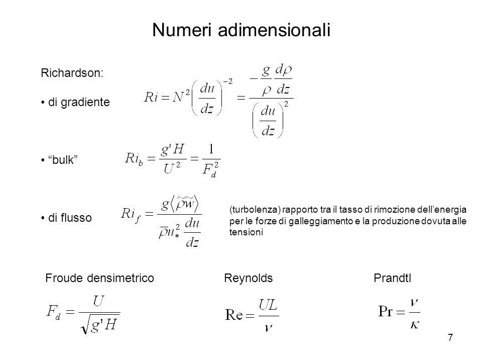 7 Numeri adimensionali Richardson: di gradiente bulk di flusso Froude densimetricoPrandtlReynolds (turbolenza) rapporto tra il tasso di rimozione dell