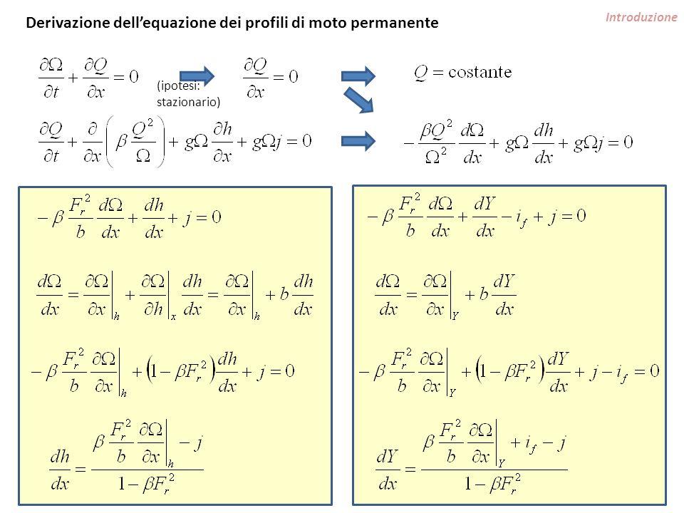 Introduzione Equazione dei profili generale riferita al fondo, alveo prismatico (e =1) condizioni critiche (alveo rettangolare) moto uniforme (alveo rettangolare largo, coeff.