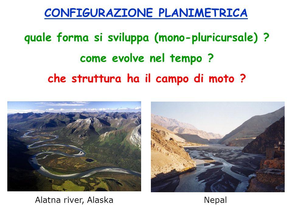 Alatna river, Alaska Nepal CONFIGURAZIONE PLANIMETRICA quale forma si sviluppa (mono-pluricursale) ? come evolve nel tempo ? che struttura ha il campo
