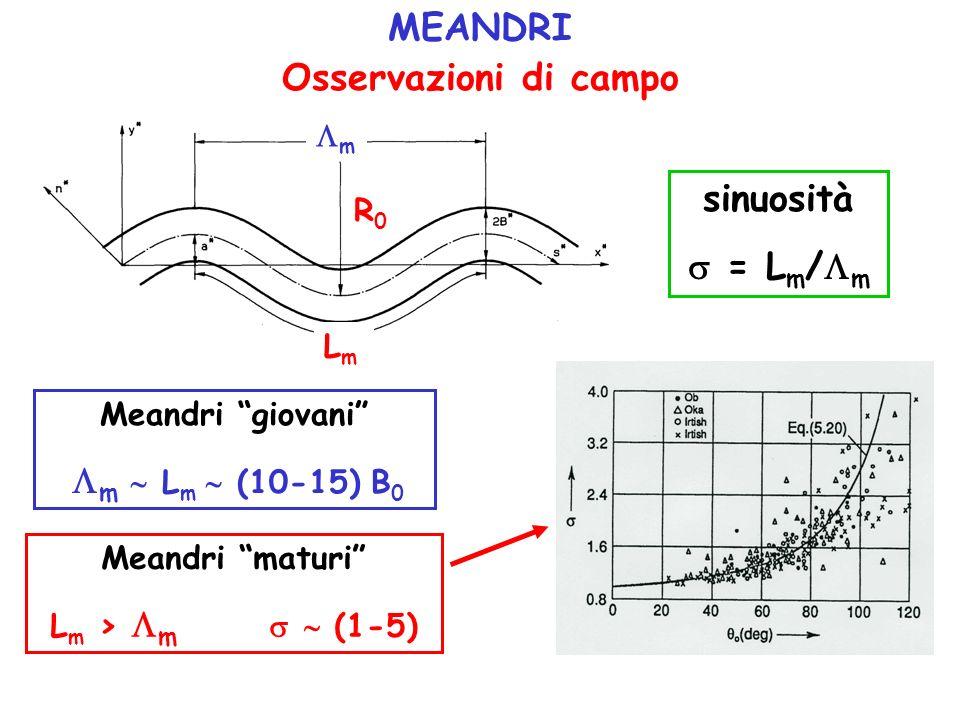 MEANDRI Osservazioni di campo sinuosità = L m / m Meandri giovani m L m (10-15) B 0 Meandri maturi L m > m (1-5) m R0R0 LmLm