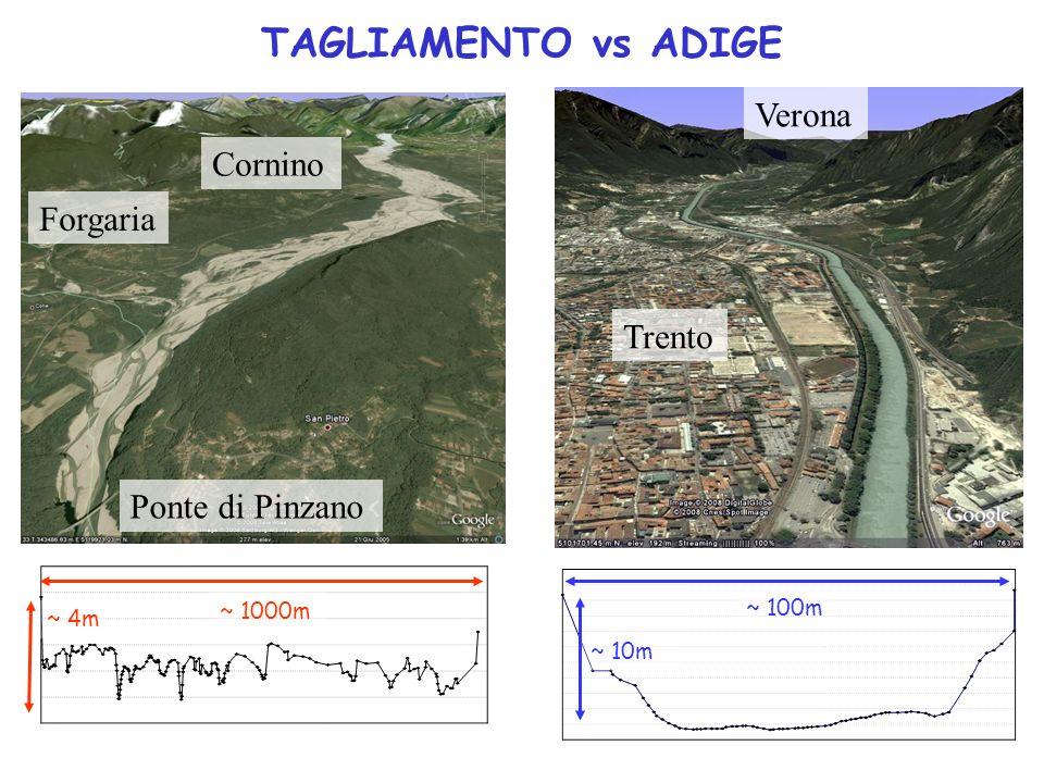 TAGLIAMENTO vs ADIGE Forgaria Cornino Ponte di Pinzano Trento Verona ~ 100m ~ 10m ~ 1000m ~ 4m
