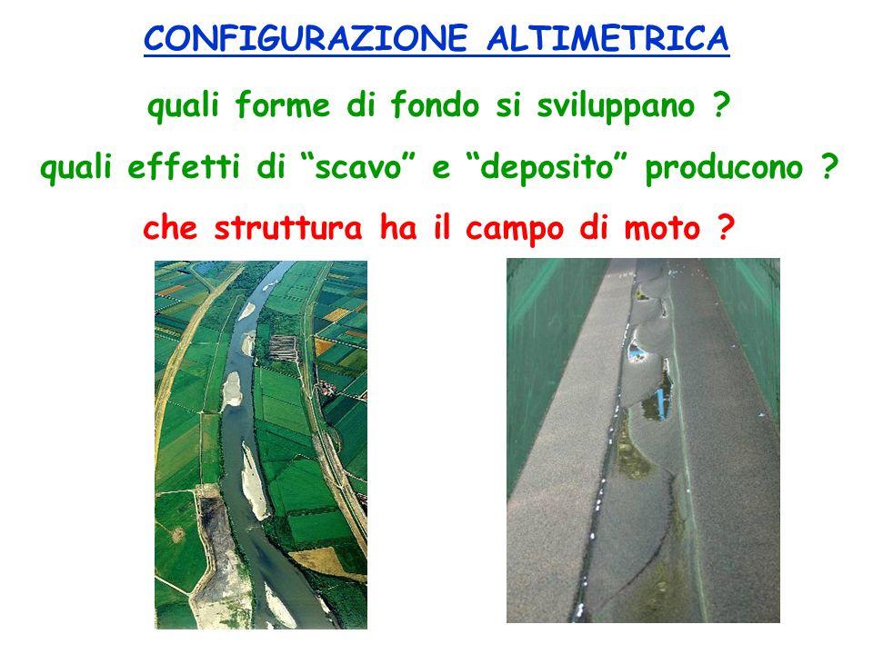 quali forme di fondo si sviluppano ? quali effetti di scavo e deposito producono ? che struttura ha il campo di moto ? CONFIGURAZIONE ALTIMETRICA