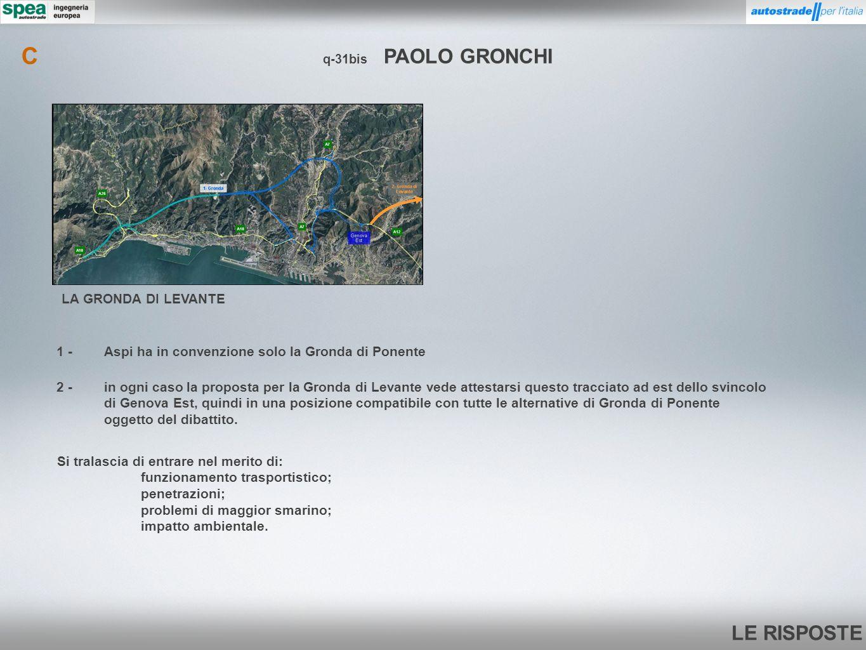 LE RISPOSTE q-31bis PAOLO GRONCHI C LA GRONDA DI LEVANTE 1 -Aspi ha in convenzione solo la Gronda di Ponente 2 -in ogni caso la proposta per la Gronda