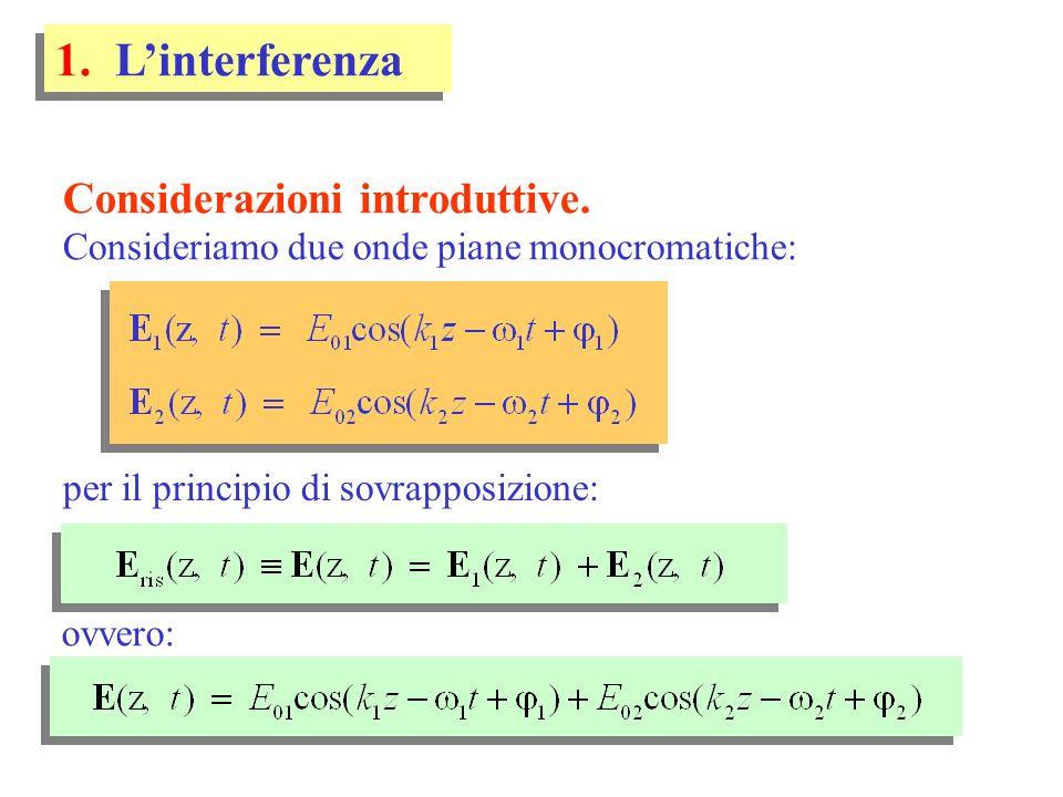 si noti,riguardo al periodo temporale: T1T1 T2T2 T = m.c.m.(T 1, T 2 ) linterferenza