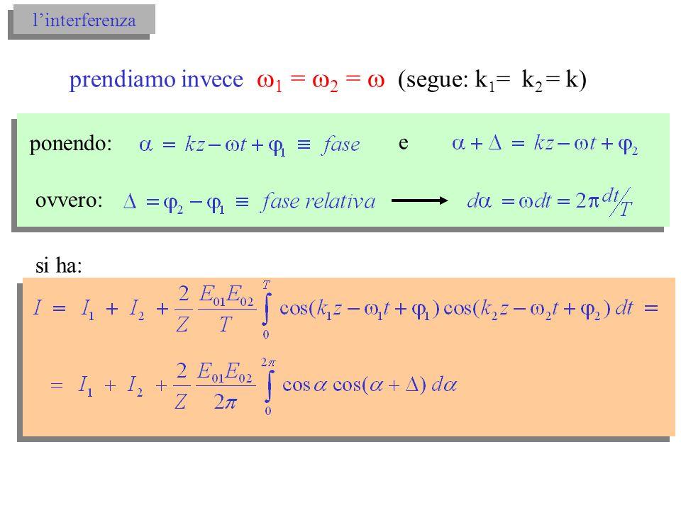 linterferenza sviluppando cos( + ) = cos cos - sin sin, e considerando che: si ha: ovvero: con interferenza di due onde monocromatiche interferenza di due onde monocromatiche
