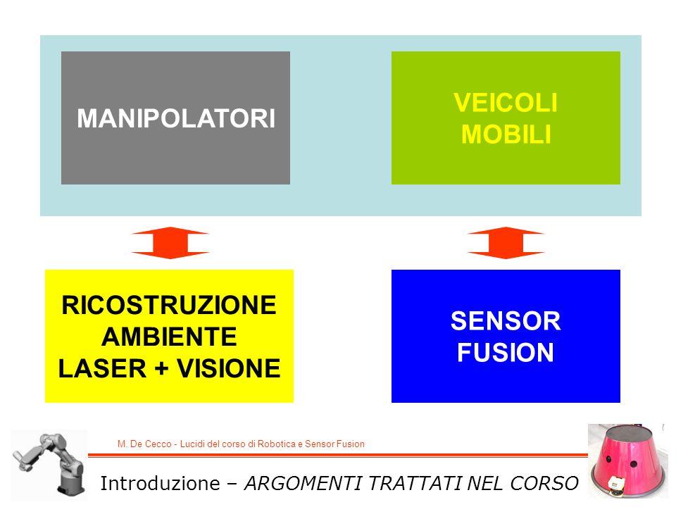 M. De Cecco - Lucidi del corso di Robotica e Sensor Fusion MANIPOLATORI VEICOLI MOBILI RICOSTRUZIONE AMBIENTE LASER + VISIONE SENSOR FUSION Introduzio
